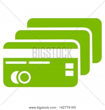 Banking Cards icon. Vector style is flat iconic symbol with rounded angles, eco green color, white background.