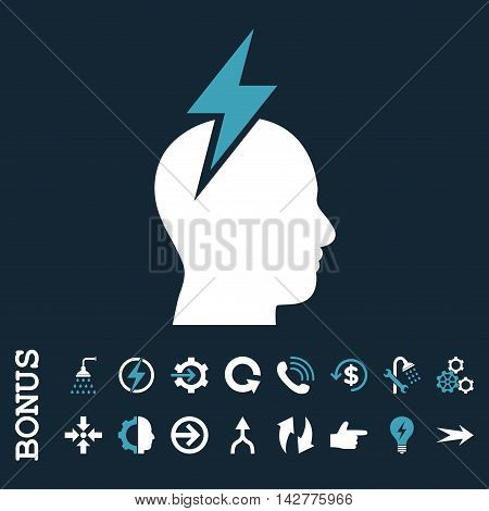 Headache vector bicolor icon. Image style is a flat iconic symbol, blue and white colors, dark blue background.
