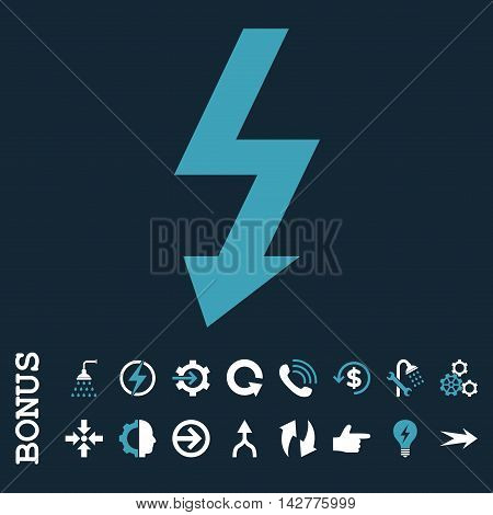 High Voltage vector bicolor icon. Image style is a flat iconic symbol, blue and white colors, dark blue background.