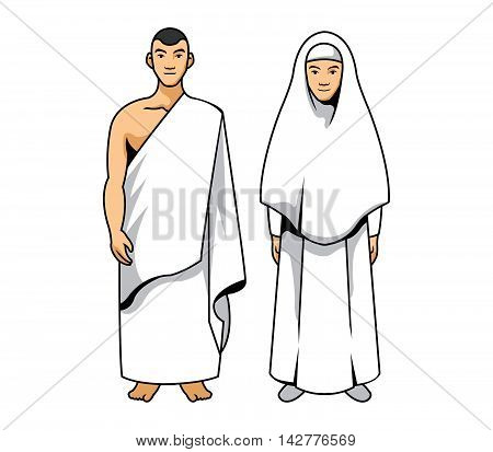 A vector illustration of hajj couple .