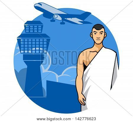 Vector illustration of a man ready to go Mecca for pray.