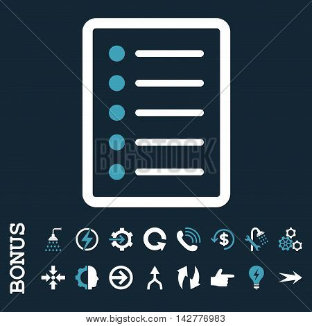 List Page vector bicolor icon. Image style is a flat pictogram symbol, blue and white colors, dark blue background.