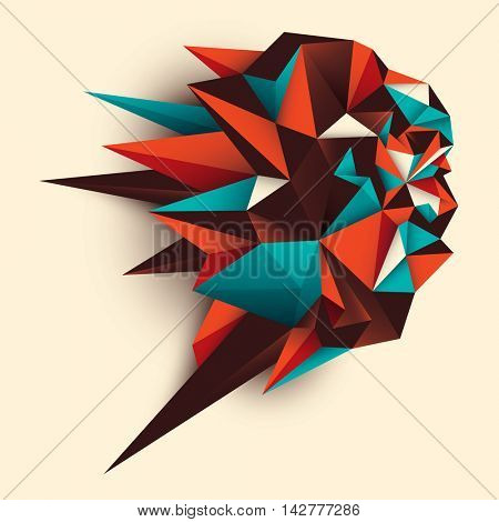 Geometrical style abstract object in color. Vector illustration.