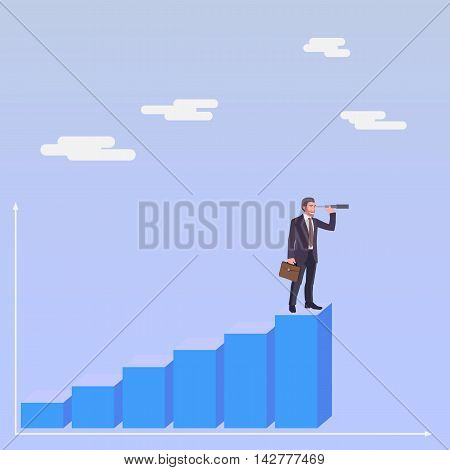 Business man standing on a stair and watching forward in a spyglass