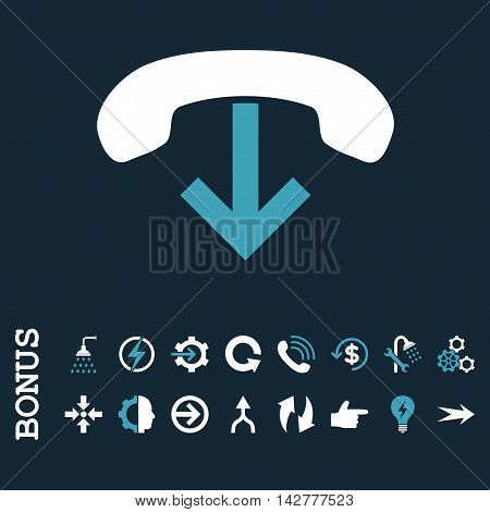 Phone Hang Up vector bicolor icon. Image style is a flat iconic symbol, blue and white colors, dark blue background.