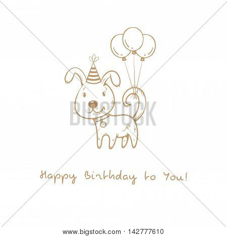 Birthday card  with cute cartoon dog. Balloons and party hat. Vector contour image no fill. Little puppy. Funny animal.
