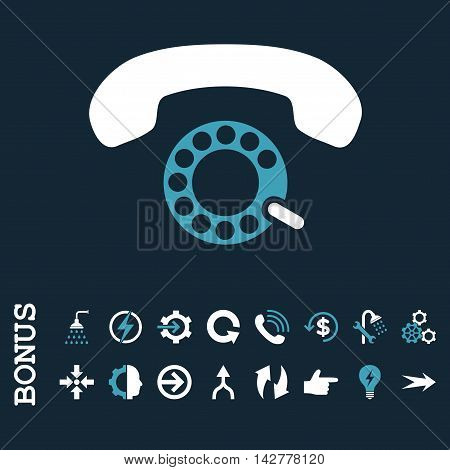 Pulse Dialing vector bicolor icon. Image style is a flat pictogram symbol, blue and white colors, dark blue background.