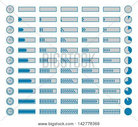 Progress bars, preloaders vector. Collection of indicators progress for download, illustration set of progress bars