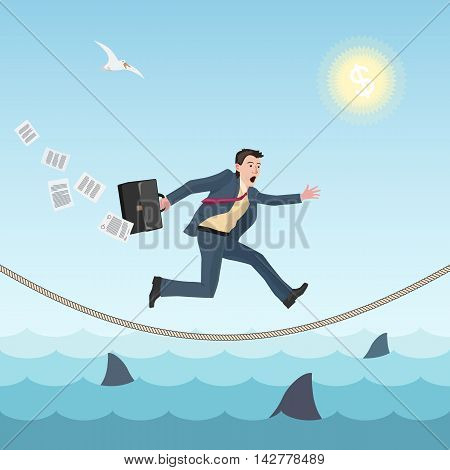 conceptual business illustration wit businessman running on the rope