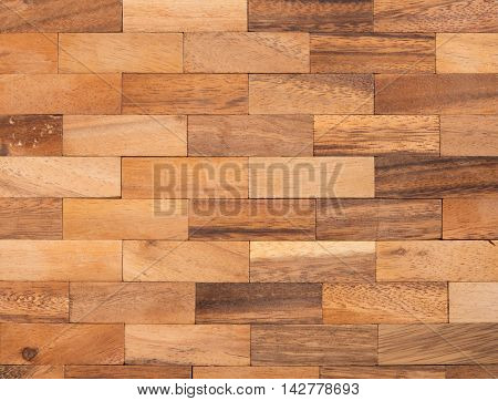 Wooden brick wall seamless background. Texture pattern for continuous replicate.