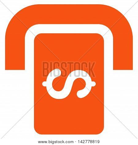 Cashpoint Terminal icon. Vector style is flat iconic symbol with rounded angles, orange color, white background.