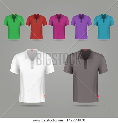 Black, white and color male vector t-shirts design template. Set of color t-shirts for sport, illustration classic t-shirt black and white