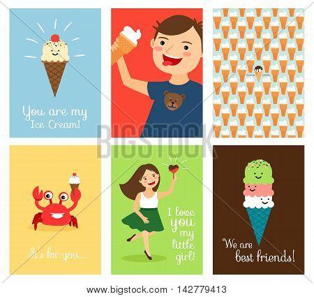 Icecream friends. Happy kids with ice cream vector illustration