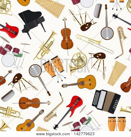 Jazz musical instruments on white background vector seamless pattern