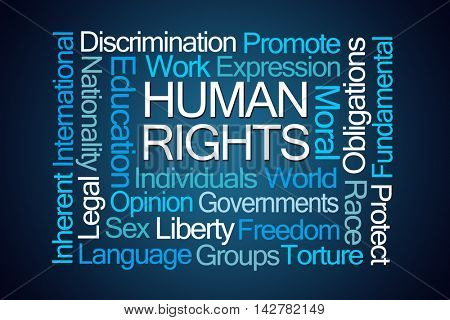Human Rights Word Cloud on Blue Background