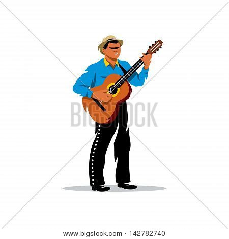 A street musician in traditional clothes and a guitar. Isolated on a white background