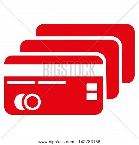 Banking Cards icon. Vector style is flat iconic symbol with rounded angles, red color, white background.