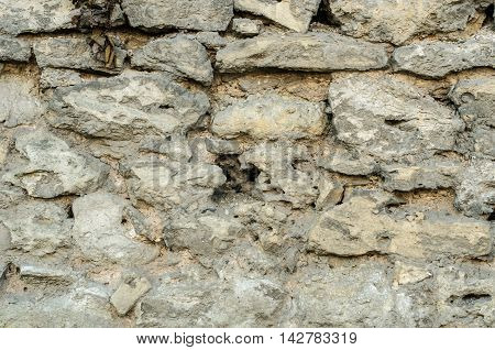 Old stone wall with signs of aging and weathering