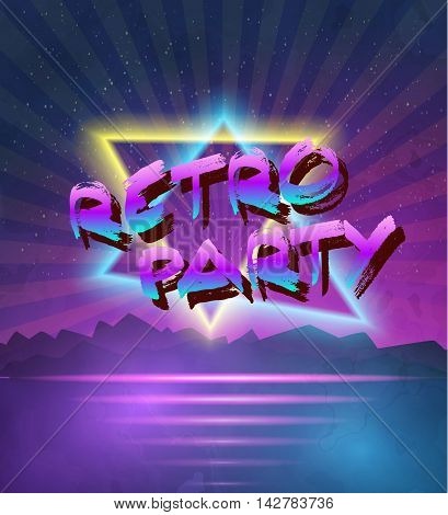 Illustration of 1980 Neon Poster Retro Disco 80s Background made in Tron style with Triangles, Flares, Partickles