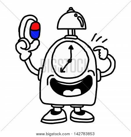illustration vector hand drawn of a clock holding capsule and pointing the arrows indicating a time to take medicine