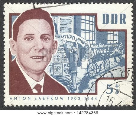 MOSCOW RUSSIA - CIRCA JULY 2016: a post stamp printed in DDR shows a portrait of Anton Saefkow the series