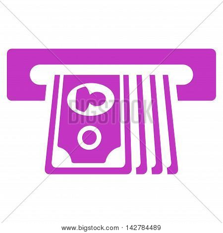 ATM Insert Cash icon. Vector style is flat iconic symbol with rounded angles, violet color, white background.