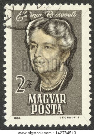 MOSCOW RUSSIA - CIRCA JUNE 2016: a post stamp printed in HUNGARY shows a portrait of Eleanor Roosevelt circa 1964