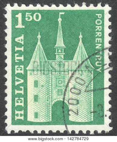 MOSCOW RUSSIA - CIRCA JUNE 2016: a post stamp printed in SWITZERLAND shows La Porte de France Porrentruy circa 1968