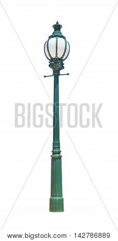 green street lamppost isolated on white background