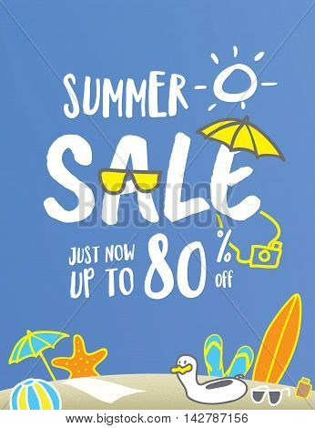 Summer Sale Heading Fun And Cute Hand Draw Style Illustration Design For Banner Or Poster. Sale And