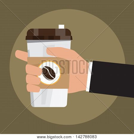 cartoon hand hold paper cup or take-home coffee cup and tube vector illustration.