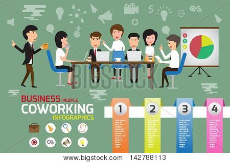 Coworking infographics elements business man and woman working in office with creative team concept. vector illustration.