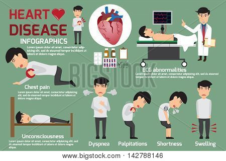 Disease Infographics. Symptoms of heart disease and acute pain possible heart attack. Detail of man in symptoms heart disease and prevention. Vector illustrations.