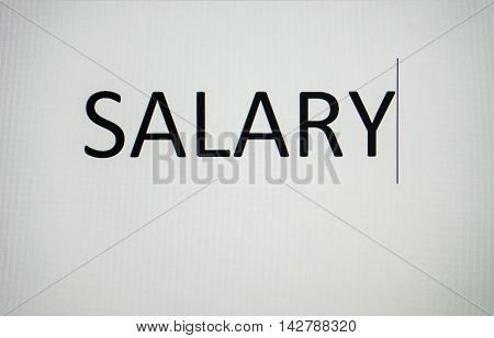 Wording of salary on the computer screen