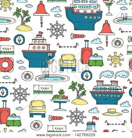 Vector seamless pattern with hand drawn colored symbols of travel and tourism. Pattern on the theme of sea cruise. Background for use in design packing web site fabric