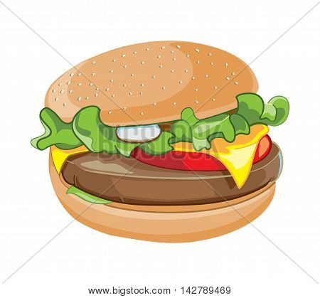 vector cartoon illustration of hamburger isolate on white background. Fast food picture for your personal design project.