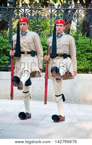 Greek Evzones on August 4 2013 in Athens Greece.