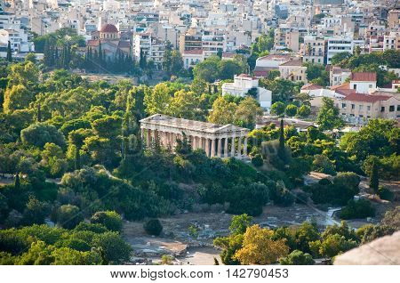 Temple of Hephaestus in ancient Agora from Areopagus.