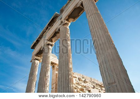 Ionic columns of the Erechtheion Athens Greece.