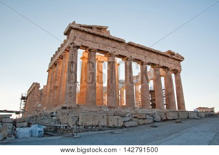 The Parthenon on the Athenian Acropolis in Athens Greece.