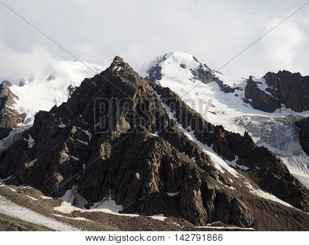 Morning view of the mountain peack, caucasus