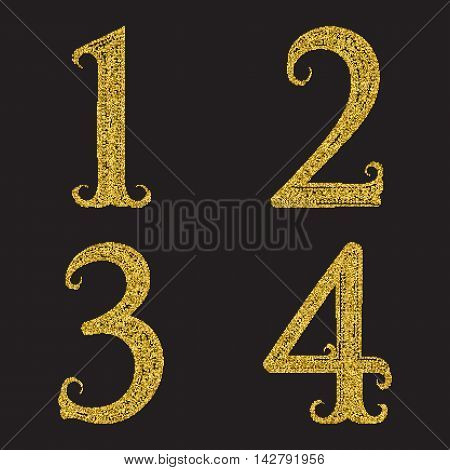 One two three four golden glittering numbers. Vintage font with gold halftone effect.
