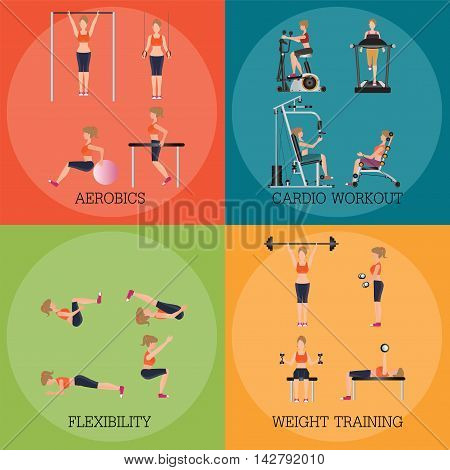 Set of fitness aerobic strength and body shaping exercises sport banner vector illustration.