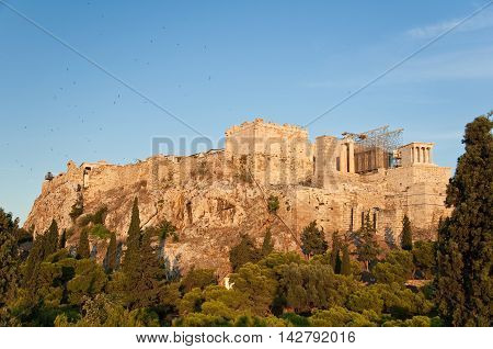 Acropolis of Athens view from Areopagus hill.