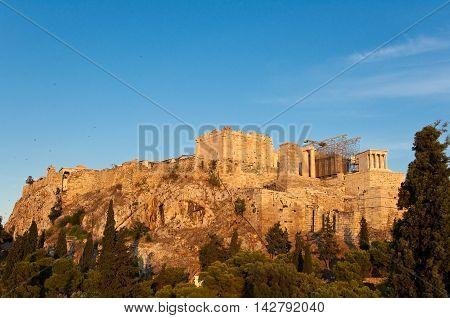Acropolis of Athens from Areopagus hill. Athens.
