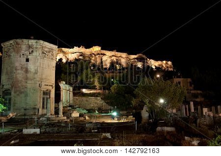 Tower of the Winds in the Ancient Agora at night in AthensGreece.
