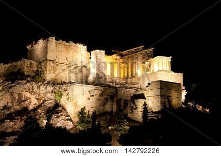 Acropolis of Athens at night. View from Areopagus hill.