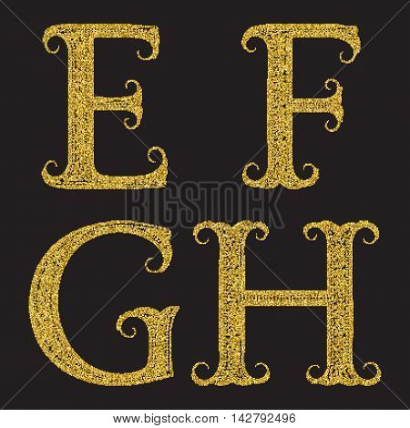 E F G H golden glittering letters. Vintage font with gold halftone effect.