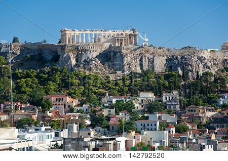The Acropolis of Athens as seen from the north. Greece.