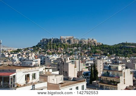The Acropolis of Athens. AthensGreece.In the citi down town.